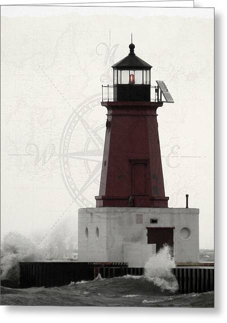 Lighthouse Compass Greeting Card