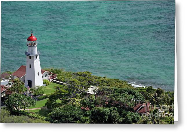 Lighthouse In Garden On Pacific Ocean Greeting Card by Sami Sarkis