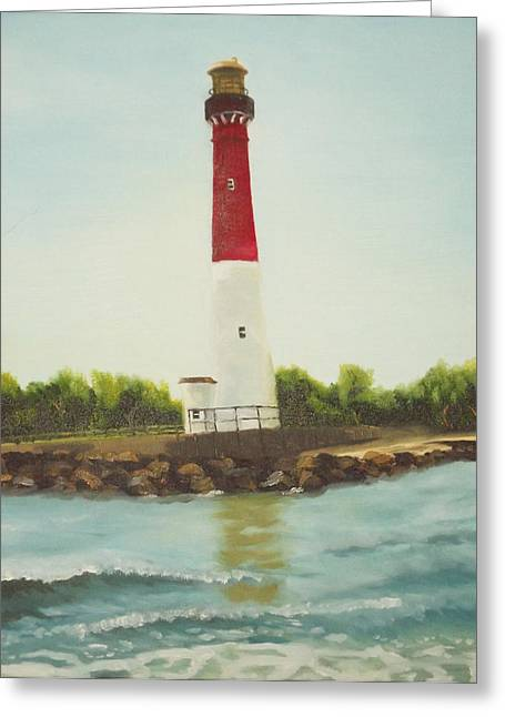 Lighthouse In Long Beach Island Greeting Card by Al Fonollosa