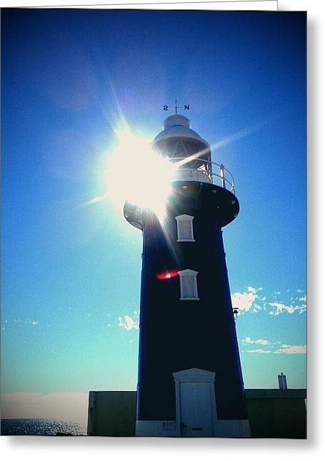 Greeting Card featuring the photograph Lighthouse In The Sunlight by Roberto Gagliardi