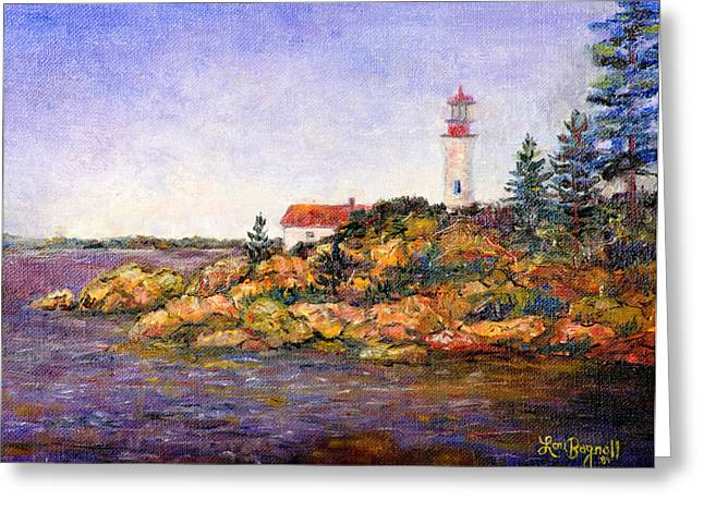 Greeting Card featuring the painting Lighthouse by Lou Ann Bagnall