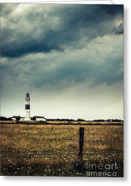Lighthouse Of Kampen -vintage Greeting Card by Hannes Cmarits