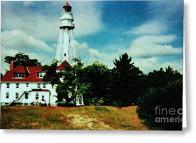 Lighthouse Off Lake Michigan Greeting Card