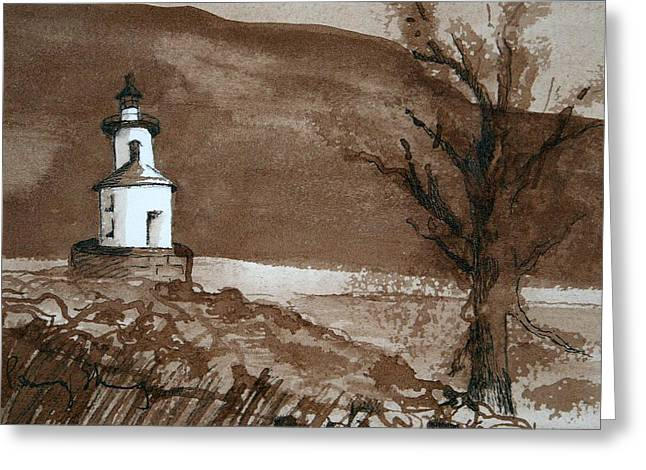 Lighthouse On Wisconsin Point Greeting Card