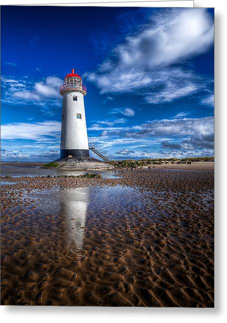 Lighthouse Reflections Greeting Card by Adrian Evans