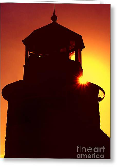 Lighthouse Sunset Greeting Card by Joann Vitali