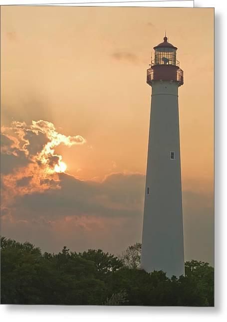 Lighthouse Sunset Greeting Card by Tom Singleton