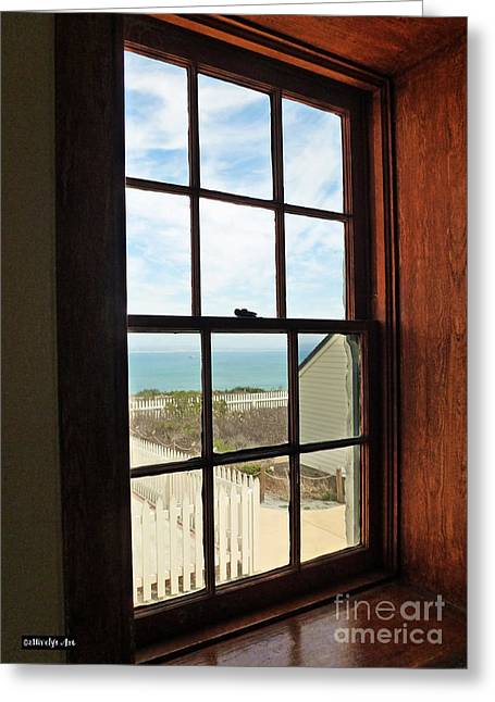 Lighthouse Window Greeting Card by Methune Hively
