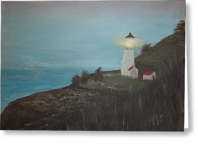 Greeting Card featuring the painting Lighthouse With Birds by Angela Stout