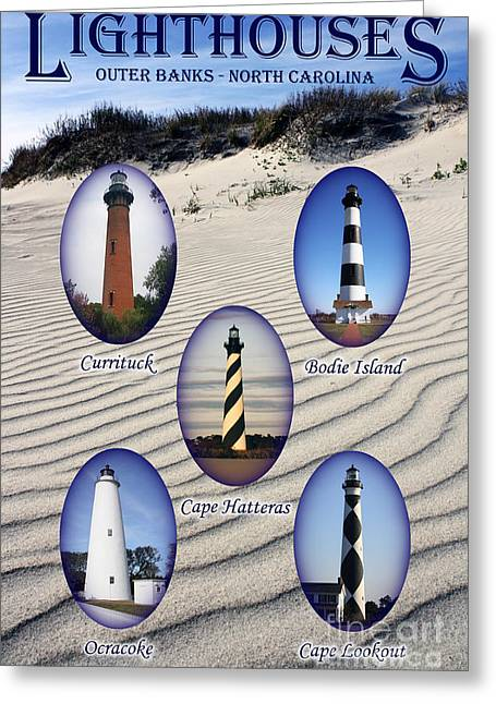Lighthouses Of The Outer Banks Greeting Card by Tony Cooper