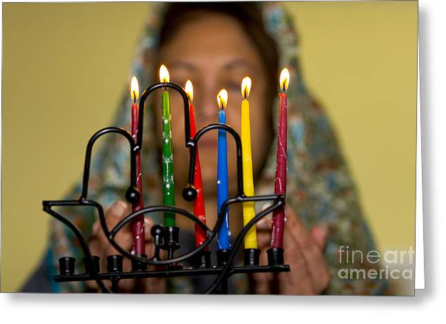 Lighting The Chanukia Greeting Card by Yossi Aptekar