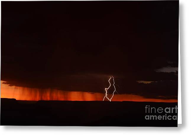 Lightning At The Grand Canyon Greeting Card