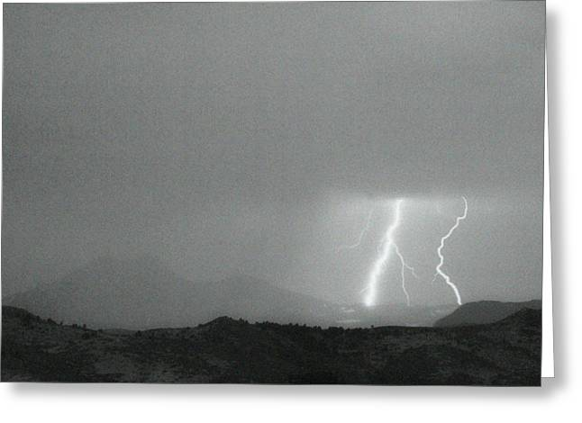 Lightning Bolts Hitting The Continental Divide Bw Crop Greeting Card by James BO  Insogna