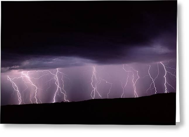 Lightning In New Mexico, Usa Greeting Card by Keith Kent
