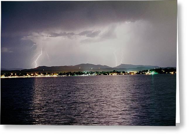Lightning Lake Greeting Card by Trent Mallett