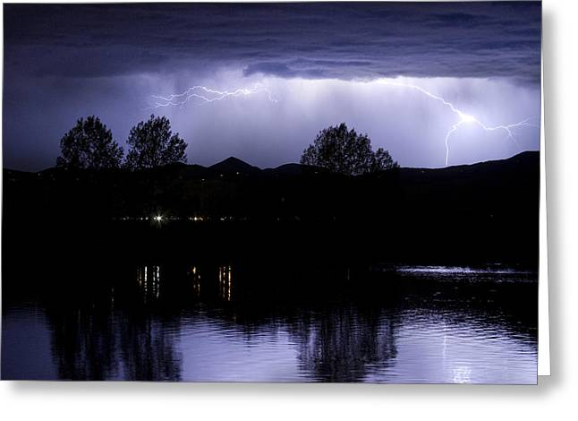 Lightning Over Coot Lake Greeting Card by James BO  Insogna