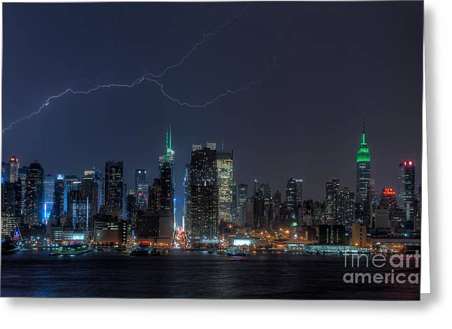 Lightning Over New York City Ix Greeting Card by Clarence Holmes