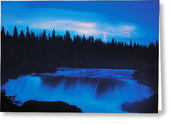 Lightning Over Pisew Falls, Manitoba Greeting Card by Dave Reede