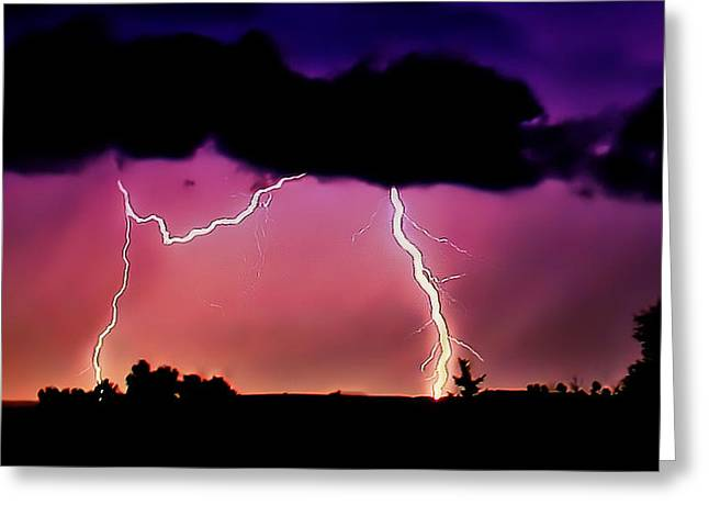 Lightning Over The Plains II Greeting Card by Ellen Heaverlo