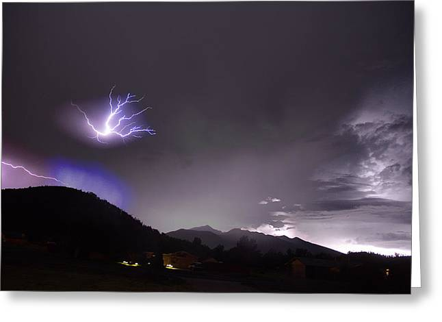 Lightning Over The San Francisco Peaks Arizona July 21 2012 Greeting Card