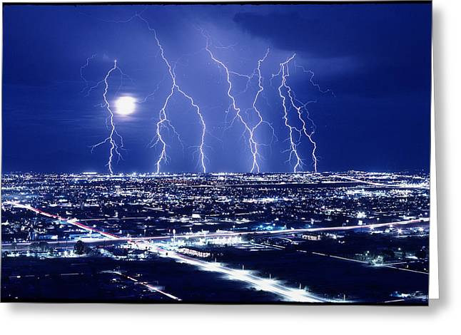 Lightning Over Tucson, Usa Greeting Card