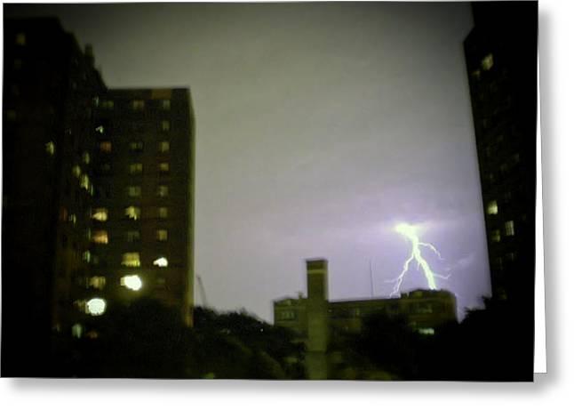 Lightning Strike Greeting Card by Cathy Brown