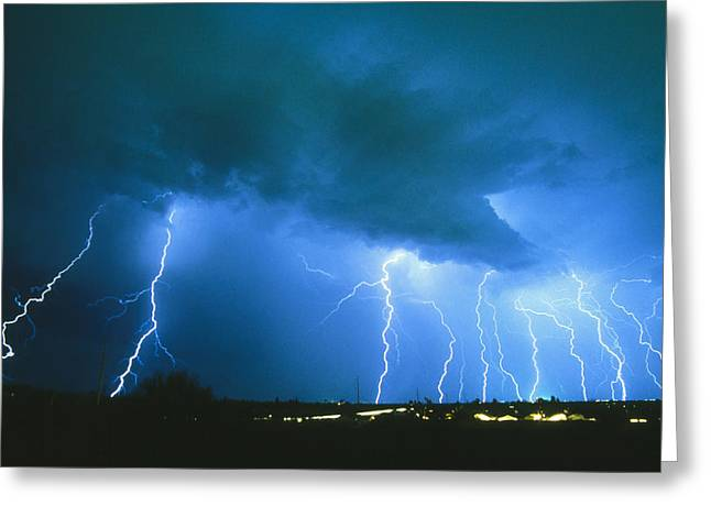 Lightning Strikes At Night In Bisbee, Arizona, Usa Greeting Card