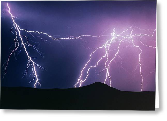 Lightning Strikes At Night, New Mexico, Usa Greeting Card by Keith Kent