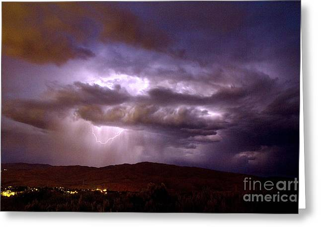 Lightning Strikes During A Thunderstorm Greeting Card by David R Frazier and Photo Researchers