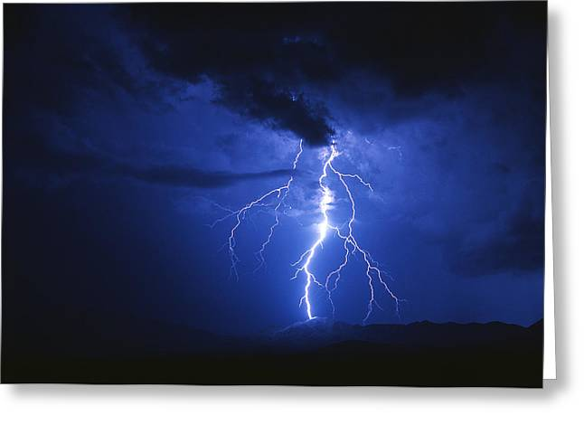 Lightning Strikes Mountain At Night, Arizona, Usa Greeting Card