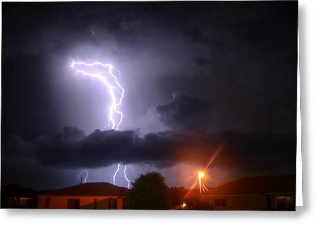 Lightning Strikes Greeting Card by Ronald T Williams