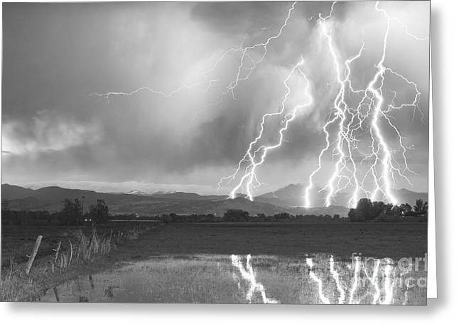 Lightning Striking Longs Peak Foothills 4bw Greeting Card by James BO  Insogna