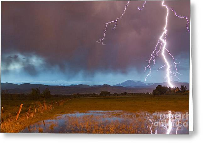 Lightning Striking Longs Peak Foothills 5 Greeting Card by James BO  Insogna