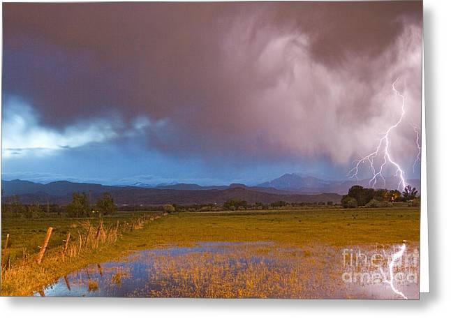 Lightning Striking Longs Peak Foothills 7 Greeting Card by James BO  Insogna