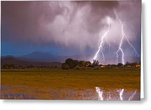 Lightning Striking Longs Peak Foothills 8c Greeting Card by James BO  Insogna