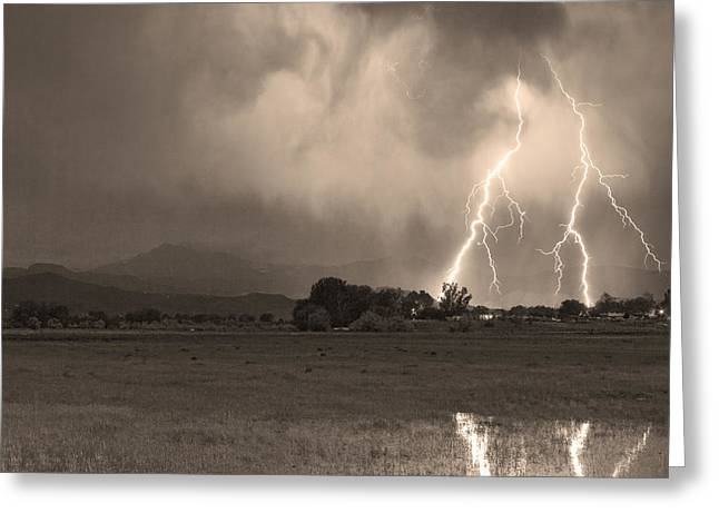 Lightning Striking Longs Peak Foothills 8c Sepia Greeting Card by James BO  Insogna