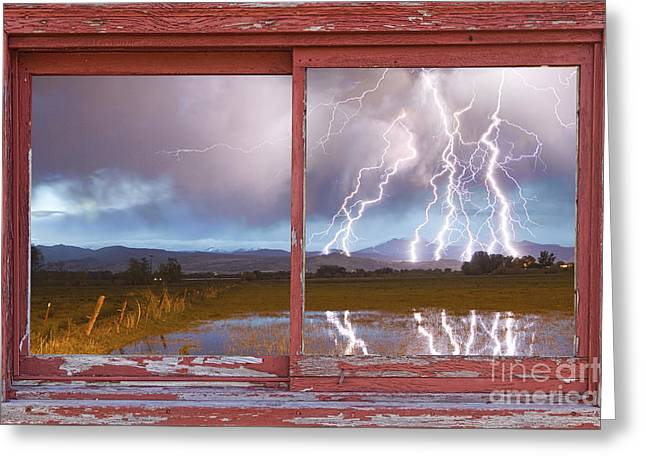 Lightning Striking Longs Peak Red Rustic Picture Window Frame Greeting Card by James BO  Insogna