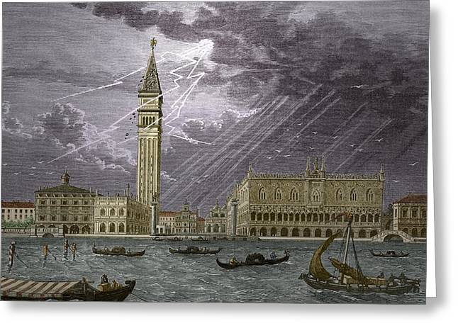 Lightning Striking St, Mark's Tower 1745 Greeting Card by Sheila Terry