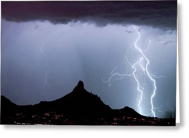 Lightning Thunderstorm At Pinnacle Peak Greeting Card by James BO  Insogna