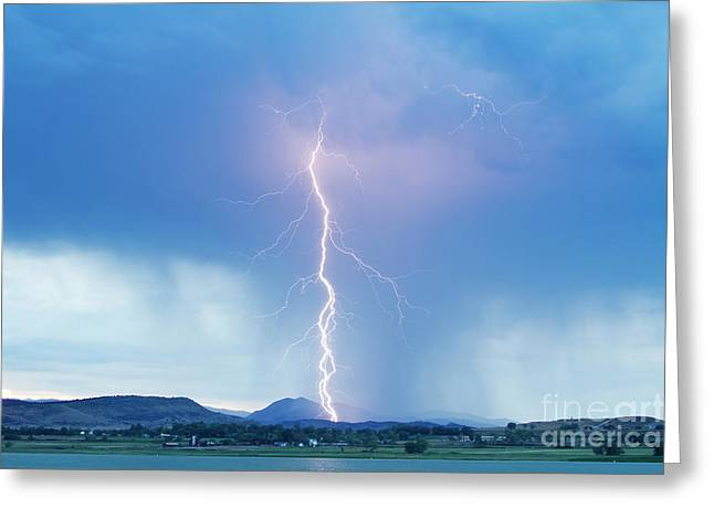 Lightning Twine Striking The Colorado Rocky Mountain Foothills Greeting Card