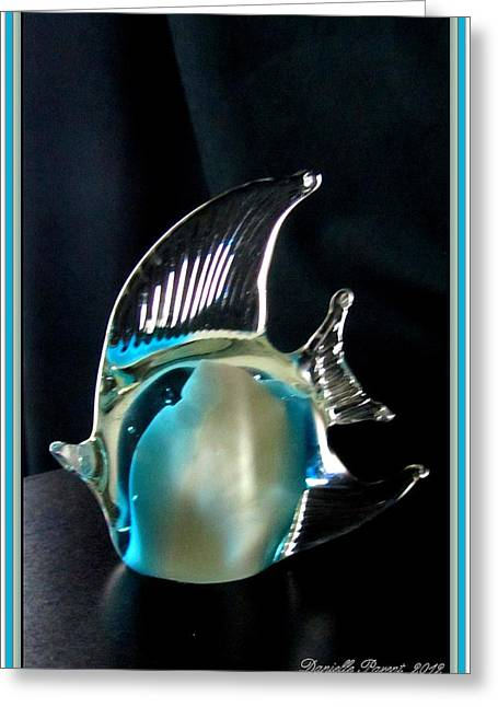 Lights And Glass Study 1  Blue Fish Greeting Card by Danielle  Parent