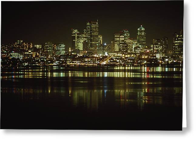 Lights Of Downtown Seattle Reflect Greeting Card by Gordon Wiltsie