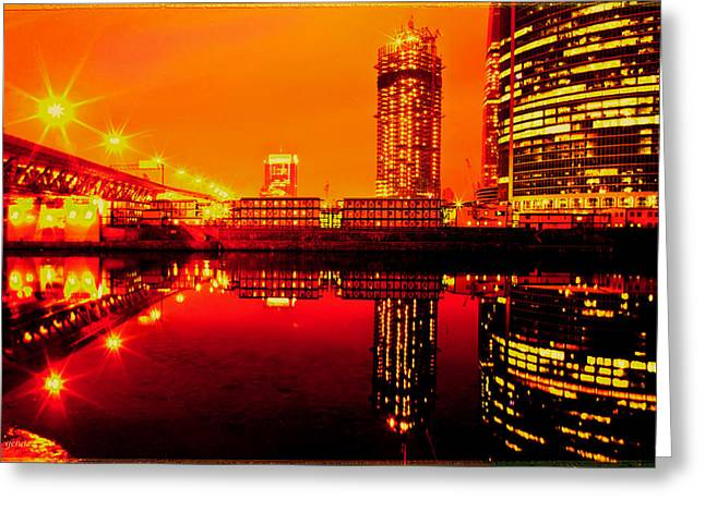 Lights On River Greeting Card by Gennadiy Golovskoy