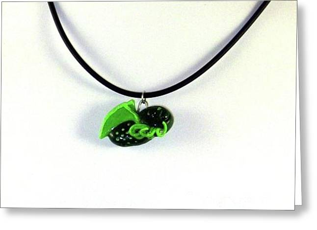 Lil Cthulhu H.p. Lovecraft Alien Cartoon Necklace Greeting Card by Pet Serrano