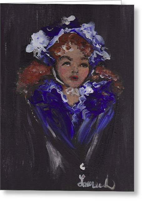 Greeting Card featuring the painting Lil Girl Blue by Laurie Lundquist