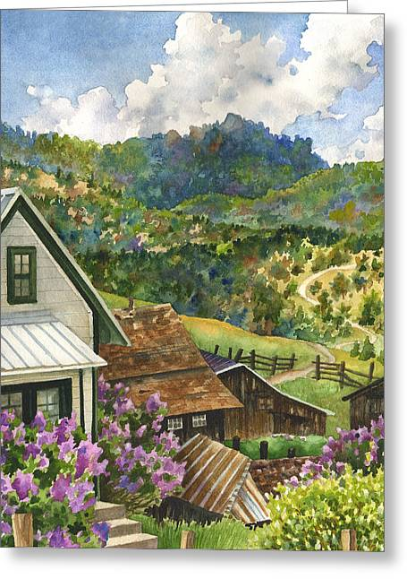 Lilacs At Walker Ranch Greeting Card by Anne Gifford