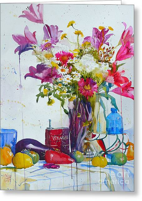 Lilies And Piggy Bank Greeting Card by Andre MEHU
