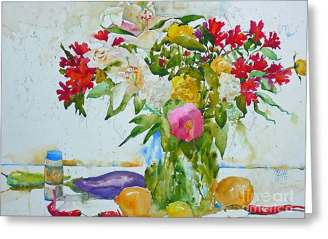 Lilies And Red Peppers Greeting Card by Andre MEHU