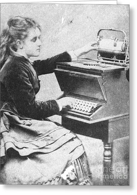 Lillian Sholes, The First Typist, 1872 Greeting Card by Science Source