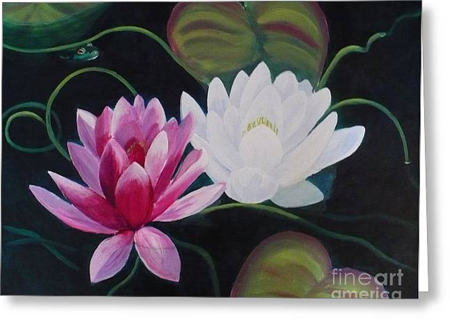 Lillies And Frog Greeting Card by Janet McDonald